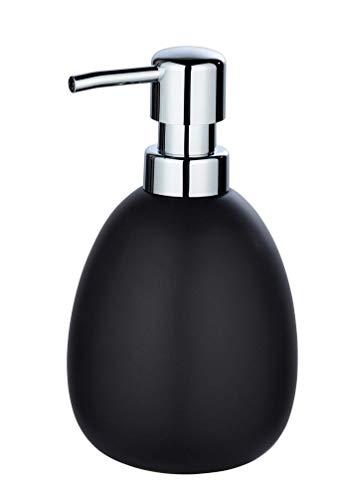 WENKO Seifenspender Polaris Schwarz matt - Flüssigseifen-Spender, Spülmittel-Spender Fassungsvermögen: 0.39 l, Keramik, 9.5 x 16 x 9 cm, Schwarz