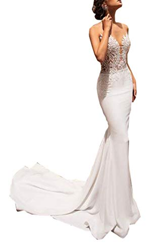 CGown Damen Illusion Ausschnitt Schlüsselloch Meerjungfrau Brautkleid Schleppe Satin Spitze Applikation Ballkleid Hochzeitskleid