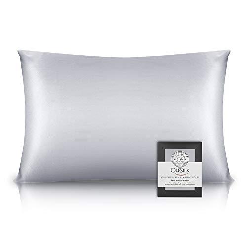 OLESILK Taie d'oreiller en Soie Naturelle de mûrier 16 Mommes: Prend Soin de Votre Peau et Moins de Perte de Cheveux - Grise argentée, 50x70cm
