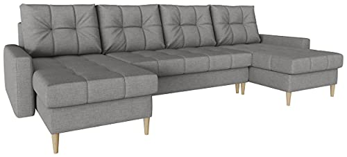 Corner sofa with sleeping function and 3 x bed boxes, U-shape, lying area 270 x 140 cm, dimensions W2290 x T140 cm, seat height 44 cm, total height 92 cm, with 4 large back cushions
