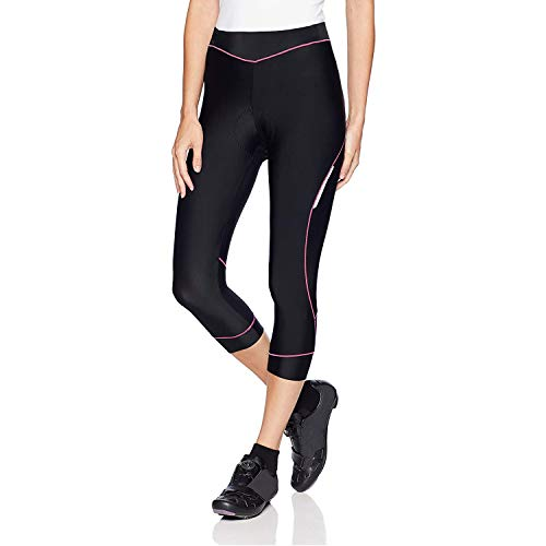 Bicycle Pants Women - 4ucycling Premium 3d Padded Breathable ¾ Cycling Tights - Maximum Comfort to the Thighs - Great for Competitive -Leisure Cycling - 100% Satisfaction Guaranteed,Black/Pink,WEIGHT:121-132Lbs HEIGHT:5'5-5'7 ft / L