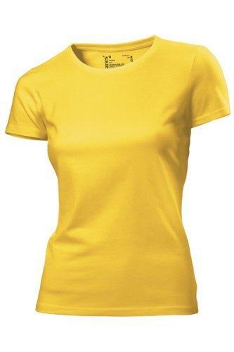 Hanes - T Shirt Femme Uni sans Etiquette Bio sans Logo Manche Courte Jaune Jaune 18