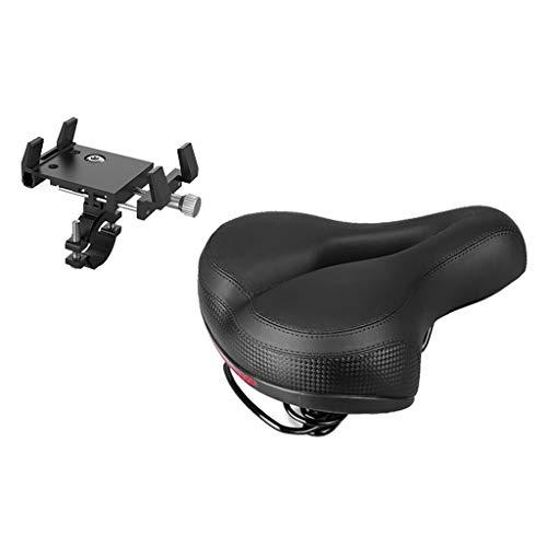 Injoyo Big Bum Bike Saddle Gel Padded Shockproof Seat Rotatable Cycling Phone Holder