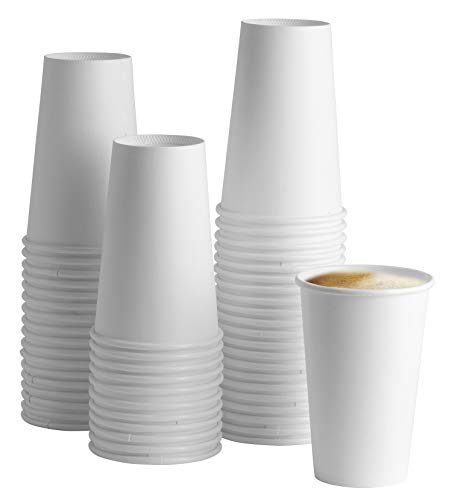 [100 Pack] 16 oz. White Paper Hot Cups - Coffee Cups