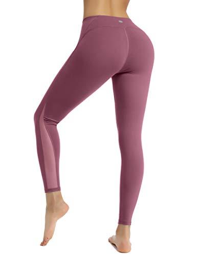 HAPYWER Sporthose Damen Yoga Training Gym Sport Leggings Lang Blickdicht Yogahosen(Ziegelrot,L)