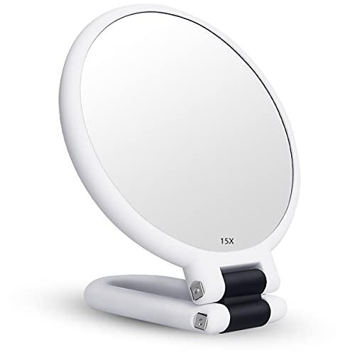 YoungRich Espejo de Maquillaje de 15 Aumentos, Espejo CosméTico de Encimera Giratorio con Mango Plegable Ajustable, Espejo de Maquillaje de Viaje (Blanco)