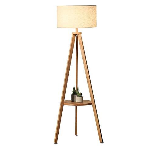 SOSERFL vloerlamp - vloerlamp in Scandinavische Japanse stijl met verticale houten lamp binnenverlichting