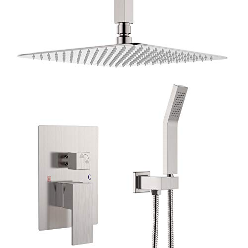 Ceiling Mounted Shower System-Brushed Nickel Shower Combo Set with 12 Inches Square Rain Shower Head, Handheld and Shower Faucet Rough-in Mixer Valve and Trim