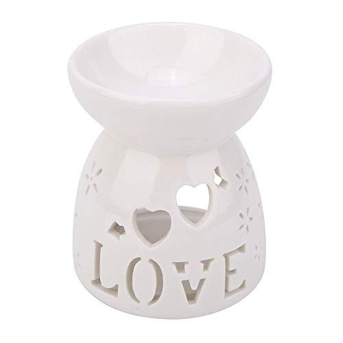 Huakii Soporte de luz de té, Quemador de Aceite Esencial de cerámica(Love)