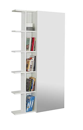 tft Scarpiera Libreria 5 Ripiani in Melaminico 88,5x25x160cm Sc Bianca Specchio