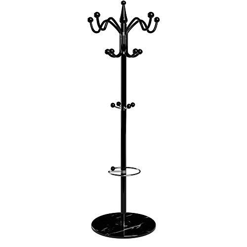 Deuba Garderobenständer Kleiderständer Schwarz Schirmständer Waved 173cm 14 Haken Metall Marmor Stabil Belastbar Drehbar