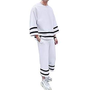 PIITE メンズ スウェット パーカー 上下セット 春 夏 ゆったり トップス ズボン プルオーバー シンプル ルームウェア ゆる 部屋着 七分袖 カジュアル おしゃれ セット服 韓国風ホワイト8