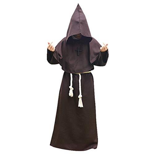 LIGGZ Mönch Kostüm, mittelalterliche Mönch Renaissance Priester Robe Kostüm Halloween Cosplay,...