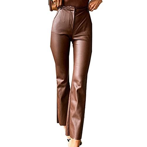 WXMSJN OtoñO E Invierno, Mujer, Bolso De Lana PU, Pantalones Rectos De Cadera, Pantalones De Cuero, Pantalones Casuales, Pantalones para Mujer