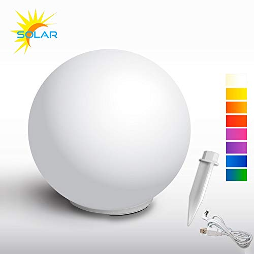 @tec LED Solarlampe für Garten, Balkon & Haus 30cm, Solar-Kugellampe, Solar-Leuchte mit Dämmerungssensor & Erdspieß, wetterfest (IP54) Solar-Kugel weiß Gartenlampe RGB Farbwechsel für innen & außen