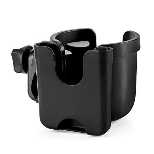 Kinderwagen-Getränkehalter, 2-in-1-Universal-Pram Cup Halter mit Telefonhalter Flaschenorganisator Getränke-Kaffeetassenhalter für Buggy, Fahrräder, Rollstuhl und Walker
