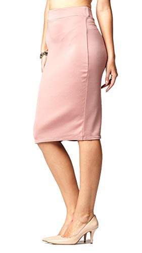 Premium Stretch Pencil Skirt for Women with Slit - Pull On Elastic Waistband - Bodycon Midi Skirts - Classic Dusty Pink - Large