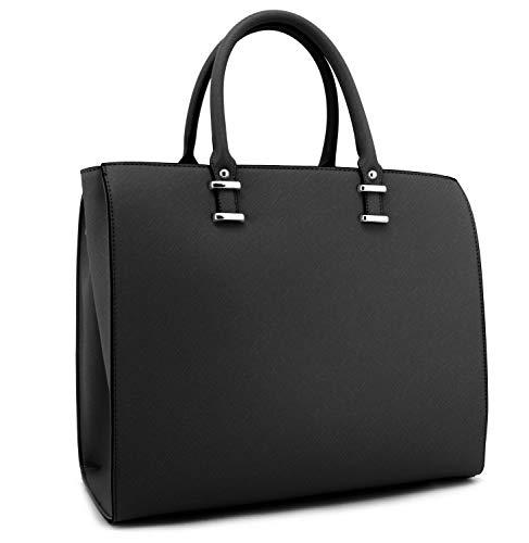 Klassische Damen Handtasche aus hochwertigem Kunstleder in Saffiano Optik,Generation 2019 - Schwarz