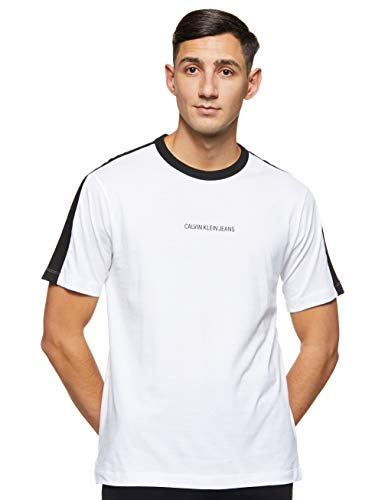 Calvin Klein Jeans Herren Colour Block Regular Tee Hemd, Weiss Weiss, XX-Large