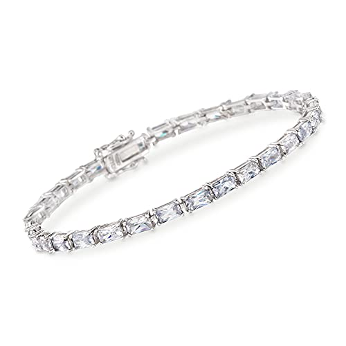 Ross-Simons 7.50 ct. t.w. Baguette CZ Tennis Bracelet in Sterling Silver. 7 inches