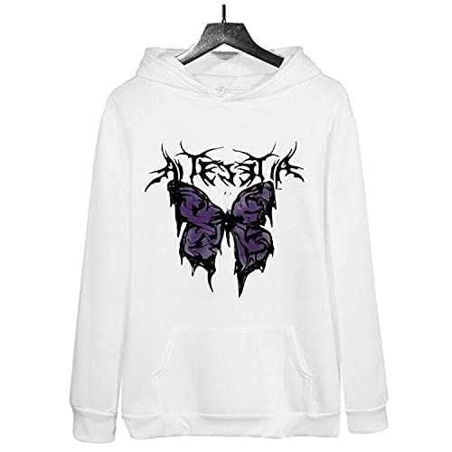 Butterfly Graphic Sweatshirt Y2K E-Girl Sudadera oversize Y2K E-Girl Gris Streetwear Chaqueta-White_XXL