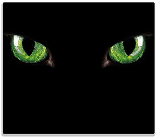 Wallario Herdabdeckplatte/Spritzschutz aus Glas, 1-teilig, 60x52cm, für Ceran- und Induktionsherde, Grüne Katzenaugen bei Nacht
