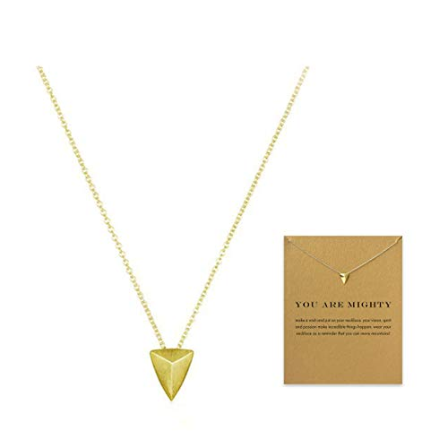 VIIRY Friendship Triangle Clavicle Necklace with Blessing Card,Small Dainty Gold Pendant Necklace for Women Gift Card