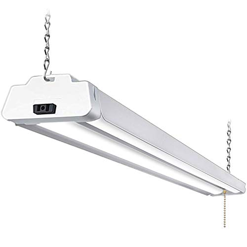 Hykolity 5000K LED Shop Light Linkable, 4FT Daylight 42W LED Ceiling Lights for Garages, Workshops, Basements, Hanging or FlushMount, with Plug and Pull Chain, 4200lm, ETL- 1 Pack