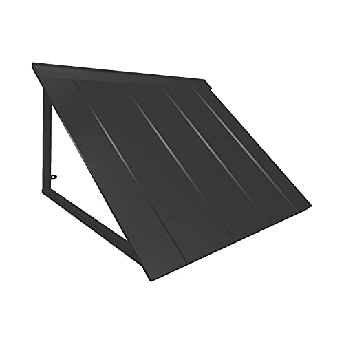 AWNTECH 5 ft. Houstonian Standing Seam Metal Door/ Window Awning Fixed Outdoor Canopy 68 Inch W x 36 Inch Proj, Black