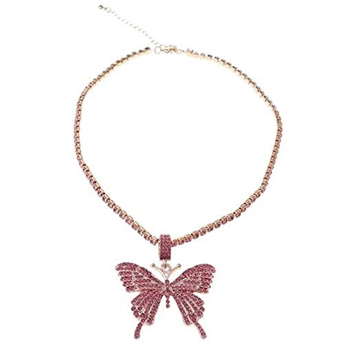 DOOLY Cristal Completamente Helado Pave Mariposa Colgante Circón cúbico 3D Mariposa Colgante Collar Joyería de Moda