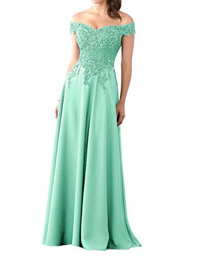 Lang Abendkleider Chiffon Ballkleider Spitzen A-Linie Brautjungfernkleider Hochzeitskleider Elegant Maxikleider Türkis 42