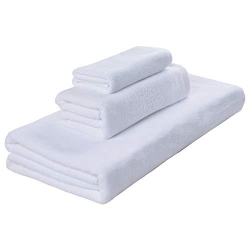 Beapet Microfibra Baby Bath Toalla de Mano Conjunto de Toalla de Cara Cuarto de Lavado de Toalla para Adultos Niños 3 Piezas Secado rápido Super Absorbente Blanco (Color : White)