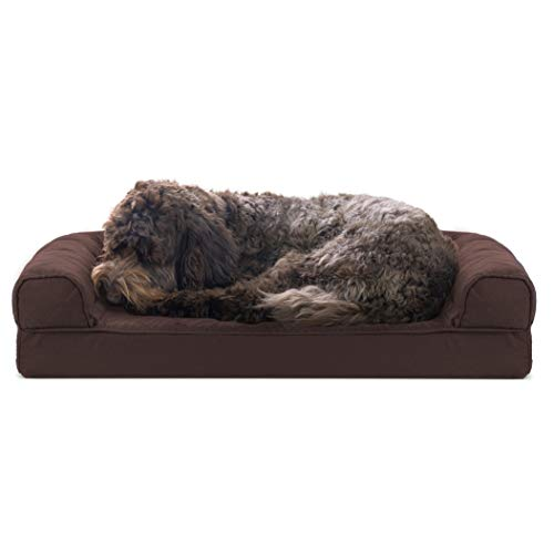 Furhaven Pet Dog Bed - Cooling Gel Memory Foam Quilted Traditional Sofa-Style Living Room Couch Pet Bed with Removable Cover for Dogs and Cats, Coffee, Medium