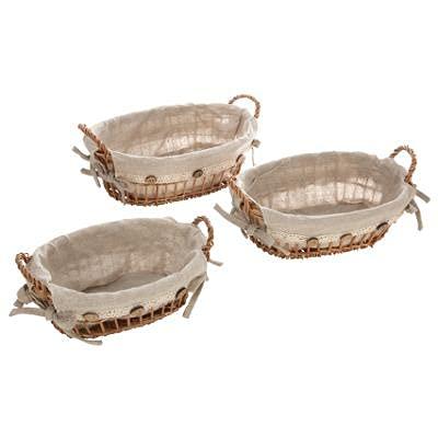 dreamhouse Broodmand ovaal, 3-delige set, natuurlijke broodmandjes gevlochten van wilgen/hout met linnen stof, broodschaal in landelijke stijl, mand voor brood en fruit, gevlochten producten met stoffen inzet (ovaal, set van 3)
