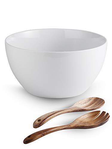 LAUCHUH 5 Quarts Porcelain Serving Bowl for Salad 10.7' Extra Large Serving Deep Bowl with Salad Spoon Set