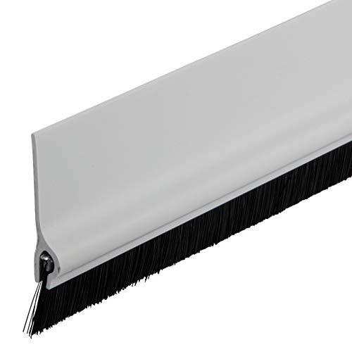 Gedotec Bürstendichtung selbstklebend Streifenbürste Garagen-Tor Türbürsten-Dichtung mit dichten Besatz | Länge 1000 mm | Türdichtung Kunststoff weiß matt | 1 Stück - Tür-Dichtschiene Bürste für Böden