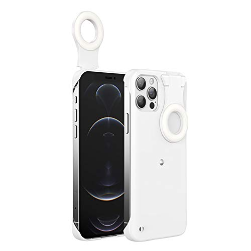HEEYEE Selfie Fill Light Case for iPhone 12 Pro Max, Ring Lights Case Best Selfie Ring Flash Case Stylish and Cool,White,11