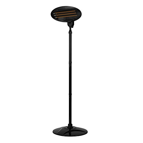 Warmlite WL42009 Electric Quartz Garden-Patio Heater, Freestanding or Wall Mountable Design, Safety Overheat Protection, Adjustable Height and 45 Degree Tilt, 3 Heat Settings, 2000 W, Black