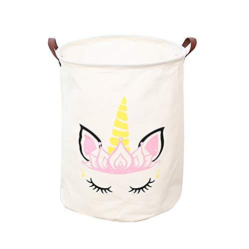 Cesta de almacenamiento grande Chungeng, plegable, redonda, cesta de lavandería/baño/decoración del hogar/cesta/caja/ropa de bebé (blanco)