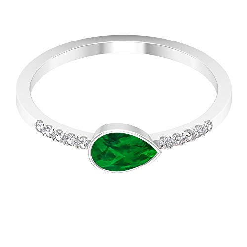 Rosec Jewels 10 quilates oro blanco pera round-brilliant-shape H-I Green Diamond Esmeralda creada en laboratorio.