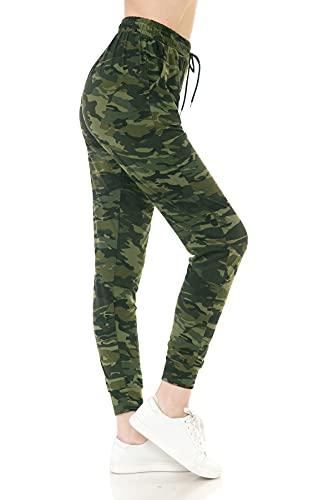 Leggings Depot JGA-N021-M Camouflage Army Print Jogger Pants w/Pockets, Medium