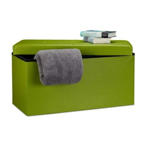 Relaxdays opvouwbare zitbank 38 x 78 x 38 cm HxBxT, 2-zits m. opbergruimte, kunstleer kruk 300 kg belastbaar, groen