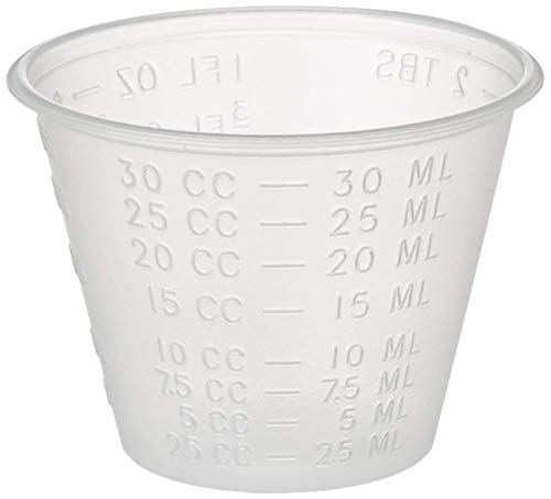 Disposable, Graduated, Plastic Medicine Cups with Liquid Measuring, 1 oz, 100 Count