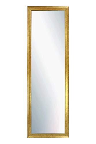 Chely Intermarket, espejo de pared cuerpo entero Medidas 35X140 cm (42,50x147,50cm)Dorado/Mod-155, ideal para peluquerías, salón, Comedor, Dormitorio y oficinas. Fabricado en España. Material madera.