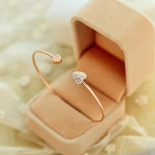 KUANGLANG Moda Ajustable Doble corazón Cristal Amor Apertura Pulsera Cristal Pulseras brazaletes Mujeres Regalo
