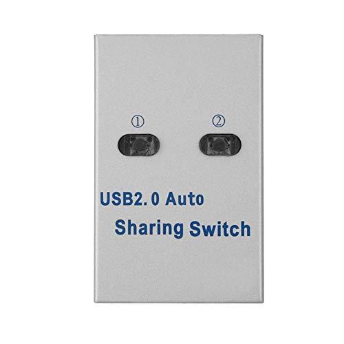 USB 2.0-switcher voor delen van printers 1 tot 2-splitter, automatische/handmatige switch-hub voor printer, scanner, plotter, enz