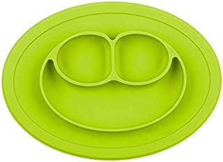 Silicone Feeding Food Plate Tray Dishes Food Holder for Baby Toddler Kid Children, Lime