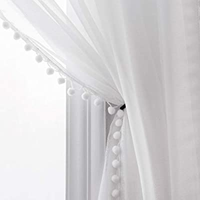 Selectex Linen Look Pom Pom Tasseled Sheer Curtains - Rod Pocket Voile Semi-Sheer Curtains for Living and Bedroom, Set of 2 Curtain Panels (52 x 84 inch, White)