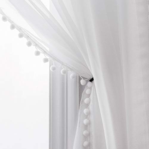 MISS SELECTEX Linen Look Pom Pom Tasseled Sheer Curtains - Rod Pocket Voile Semi-Sheer Curtains for Living and Bedroom, Set of 2 Curtain Panels (52 x 63 inch, White)
