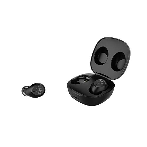 Motorola Moto Buds Charge - True Wireless Bluetooth in-Ear Headphones - Charging Case, IPX5 Waterproof Cordless Earbuds, Mobile Charge Capability, Up to 10 Hours Battery Life, Built-in Mic - Black
